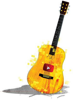 Illustration of guitar with YouTube logo