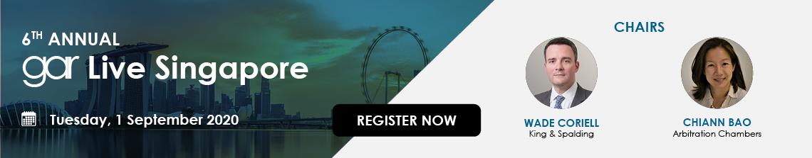 6th annual GAR Live Singapore on 1 September 2020, Register now